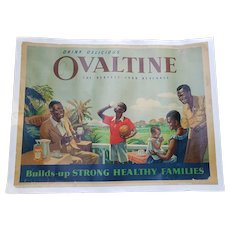 Rare Vintage Afro-British OVALTINE Poster circa 1960 Active