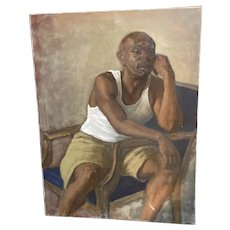 Oil on Canvas Black Man in T-Shirt