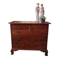American Tiger Maple Chest of Drawers, Circa 1780