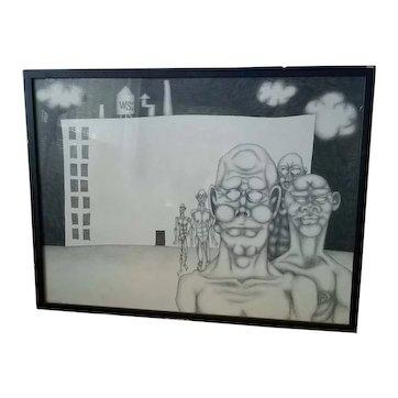 "Alan Fliesler ""Walkout"" Graphite on Paper. 1962"