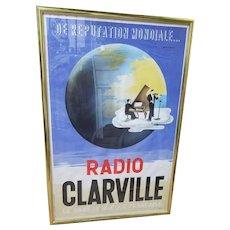 Radio Clarville French Radio Poster Circa 1950