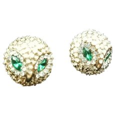 MIDCENTURY Owl-shaped Rhinestone & Enamel Post Earrings