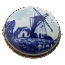 Delft Blue & White Collar Button  Pin