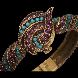 Midcentury Turquoise & Amethyst Ladies Wristwatch Hidden Bracelet