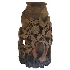 Early 20th Century Flower and Birds Carved Soapstone Vase