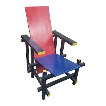 Gerrit Rietveld's Red and Blue Chair Cassina edition 1973
