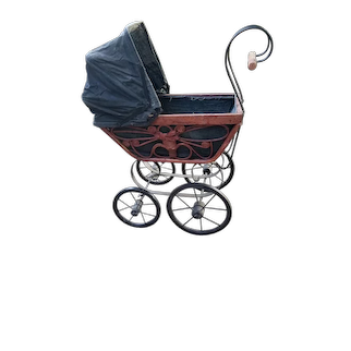 Wicker and Fabric Doll Carriage