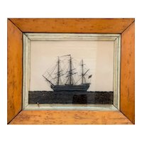 """British Reverse on Glass ink of The Ship """"Terrible"""""""