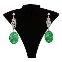 Edwardian Platinum Diamond Jadeite earrings
