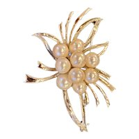 Mid-century Cultured Saltwater Pearl  brooch