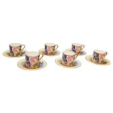 Signed Aynsley set 6 demi-tasse cups and saucers