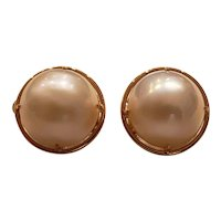 14k monumental Mabe Pearl ear clips