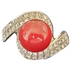 18k Fine Coral and Diamond bypass ring