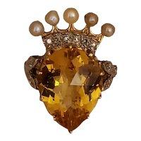 14k Diamond Citrine Natural Pearl ring