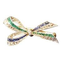 Edwardian 18k Platinum Diamond Emerald Sapphire ribbon brooch