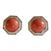 Magnificent and Impressive natural Coral and Diamond Earclips