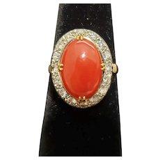 18k oval Coral Diamond ring