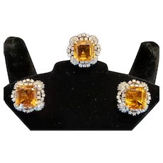 Mid-century Citrine and Diamond ring and earrings demi-parure