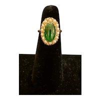 Retro 14k Jadeite Pearl ring