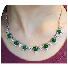 Mid-century Imperial Jadeite Diamond Platinum necklace