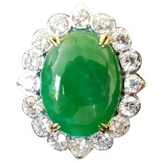 18k Fine Diamond and Jadeite Ring