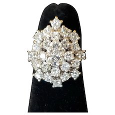 Mid-century pear-shaped diamond cocktail ring