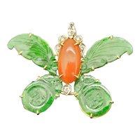 Vintage 14k Jadeite, Coral, Diamond Butterfly Pendant/Brooch