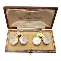 Art Deco 18k Enamel and Pearl Cufflinks and Shirt Studs
