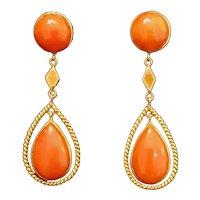 14k Gold Fine Coral Pendant Earrings