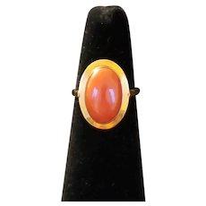 18k Vintage Red-orange Oval Coral Ring
