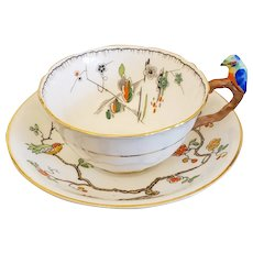 Art Deco Parrot Bird Handle Cup & Saucer