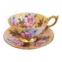 Aynsley Cabbage Roses Cup & Saucer