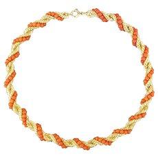 Mid-century coral bead necklace