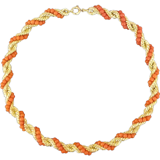 Mid-century coral bead twisted rope necklace