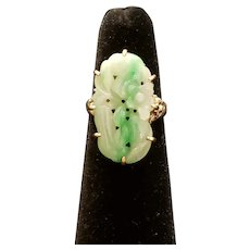 Antique Chinese Export Jadeite Silver Ring