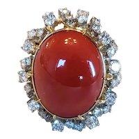 Mid-century 18k Coral Diamond Statement Ring