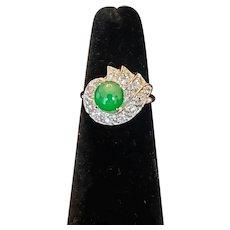 Mid-century Fine Jadeite Diamond Ring