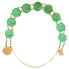 Chinese Art Deco Jadeite 10k Bracelet