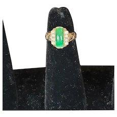 Art Deco 10k Jadeite Panel Pearl Ring