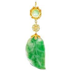 Antique Gilt silver Jade leaf Pendant