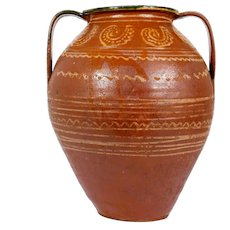 Large Slip Decorated French Redware Pottery Jar. 19th century