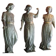 19th C carved and painted wood sculptures of the three muses
