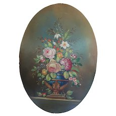 Victorian Still Life Painting on Wood Panel