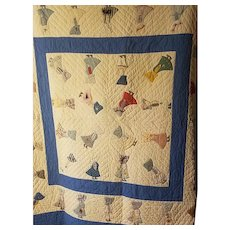 Very Unusual Sunbonnet Sue Quilt Dated 1922