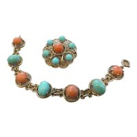 Vintage 14k yellow gold, mid-century Coral and Turquoise pin and bracelet set