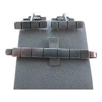 GEORG JENSEN- sterling silver cufflinks and matching tie bar # 64