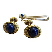 SCHLUMBERGER FOR TIFFANY & CO.  18k y.g. and lapis cufflinks and tie bar