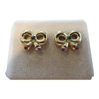 18k Yellow Gold bow earrings with pink and green tourmaline