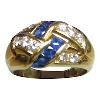 18k yellow gold, Sapphire and Diamond ring