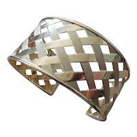 Wide 14k gold basket weave design cuff bracelet
